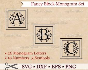 FANCY BLOCK MONOGRAM Svg, Dxf, Eps & Png Files, Regal Inspired Digital Block Letters,Silhouette Studio,Block Monogram Font Cut Files, Cricut