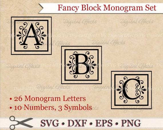 FANCY BLOCK MONOGRAM Svg Dxf Eps & Files Regal Inspired