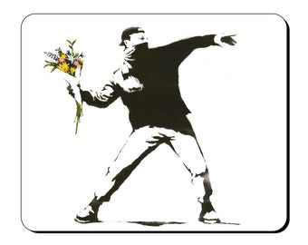 Mouse Mat - Flower Thrower - Banksy Street Art Mouse Pad BK103