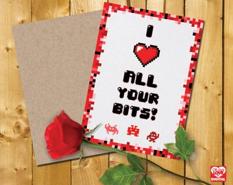 """Printable Valentine Card and Envelope, Pixel, Geek, Tech """"I (heart) All Your Bits"""", Instant Digital Download"""
