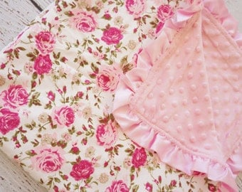 Light Pink Floral Minky Blanket