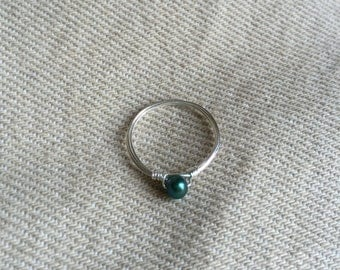 teal freshwater pearl ring