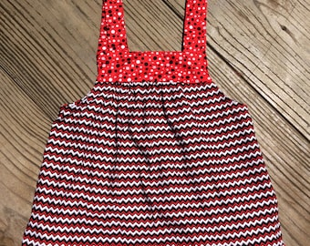 Girls Red, Black, And Grey Chevron And Polka Dots Tie Top