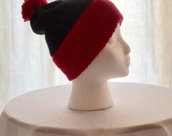 Red and black beanie, hat, winter hat, beanie, slouchy beanie, pom pom beanie, winter beanie, knitted hat, uga hat, uga