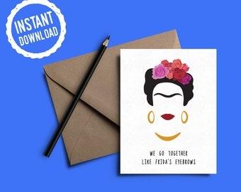 Frida Kahlo Card | Frida's Eyebrows | Greeting Card | Funny Card | Instant Digital Download