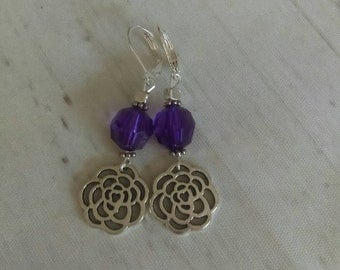 Rose earrings. Purple earrings. Flower earrings. Dangle earrings