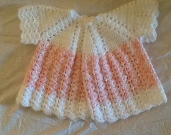 Newborn two-tone crochet jacket