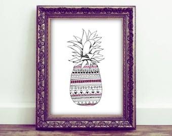 Aztec pineapple printable - high res jpg - Black and pink