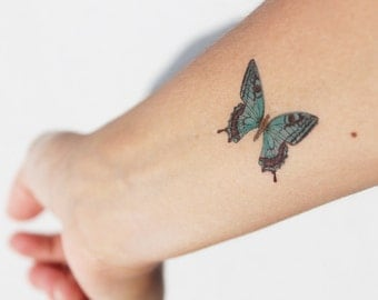 2 tattoos temporary Blue Green Butterfly / tattoo vintage / blue tattoo / tattoo color