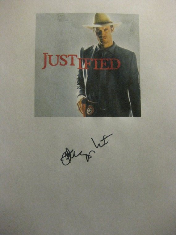 Justified Signed TV Script Screenplay Pilot Autograph Signature reprint Timothy Olyphant