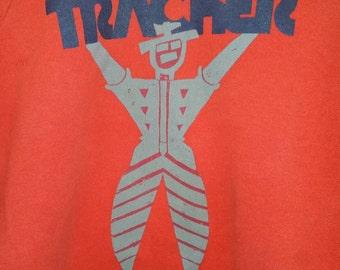 Vintage 80s Tracker Trucks Red Sweater,  Original in Excellent Condition, Early Tony Hawk Sponsor, Powell Peralta Bones Brigade Rat Bones