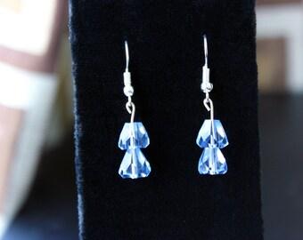 Blue Glass Crystal Earrings