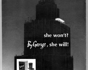 """1964 George vintage magazine ad men cologne """"She won't by George, she will"""" 1703"""