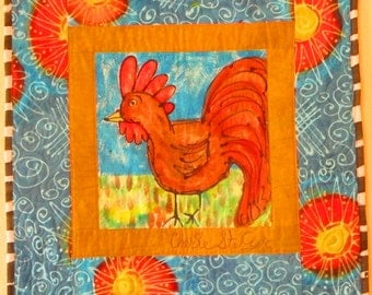 """Hand painted and quilted whimsical wall hanging, about 26"""" by 27"""""""