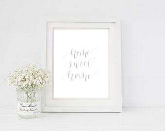 Home Sweet Home - Black & White - Printable Art - PDF and JPG File