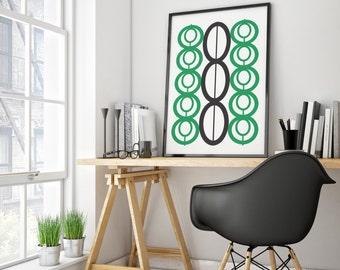 Green Wall Art, Mid Century Wall Art, Mid Century Modern Art, Black Wall Art, Printable Art, Mid Century Printable Decor, Modern Art Prints