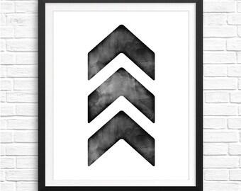 Black Chevron Watercolor Print, Chevron Wall Art, Watercolor Chevron Decor, Geometric Watercolor Art, Black and White Chevron Printable