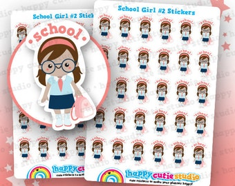 30 Cute School Girl #2 Planner Stickers, Filofax, Erin Condren, Happy Planner,  Kawaii, Cute Sticker, UK