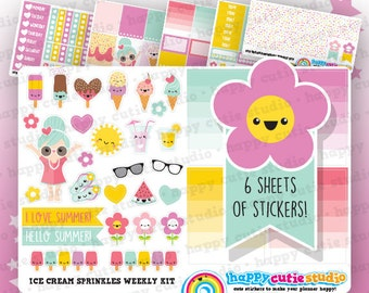 Ice Cream Sprinkles Weekly Kit, Planner Stickers, Erin Condren Vertical, Kawaii, Cute Sticker, UK