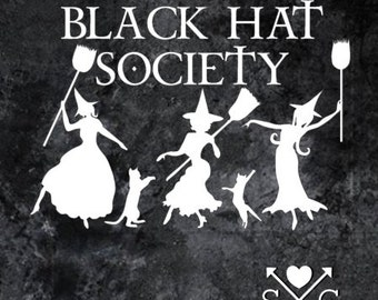 Three Witches Black Hat Society Car Decal Window Decal