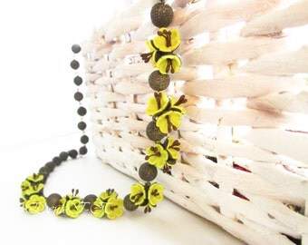 Beaded necklace «Summer warm»