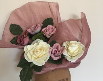 Fascinator - Dusty Pink & Ivory