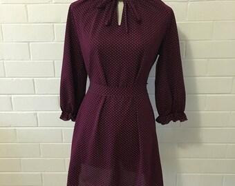 Burgundy Polkadot Dress