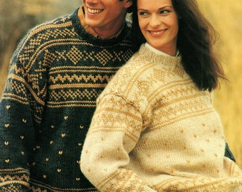 His & Hers Fair Isle Jumper, Knitting Pattern. PDF Instant Download.