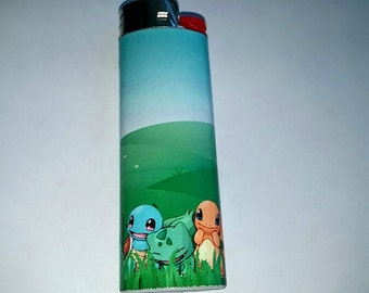 Pokemon Squirtle, Bulbasaur, and Charmander standing in grass Custom Lighter