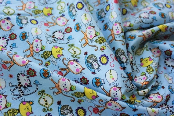 Cotton fabric japanese fabric kids fabric cat fish for Animal print fabric for kids