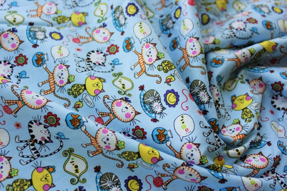 Cotton fabric japanese fabric kids fabric cat fish for Children s animal print fabric