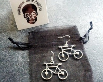 Bike Earrings Lovely Gift for Cyclists or Bike Rider Present Ear Beautiful Silver plated wires suitable for pierced ears alloy charm
