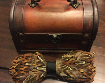 Pheasant Feathered Bow Tie