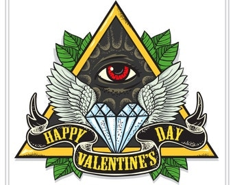 Vector tattoo-art on the theme of Valentine's Day. Tattoo-art design.Wings,diamond and Eye of Providence