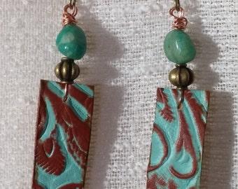 Leather Earrings Dangle Earrings Turqoise