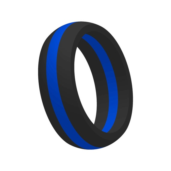 Men s Thin Blue Line Silicone Wedding Band Ring Flexible