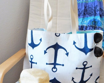 Large Beach tote Navy Anchor Beach Tote Summer Tote Everyday Tote Gift Organization Navy Tote Turquoise Tote