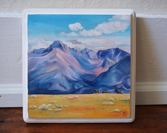 Mini Painting of Rocky Mountain National Park / Long's Peak / Elk