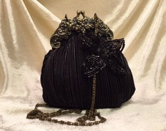 Black Ornate Evening Pouch