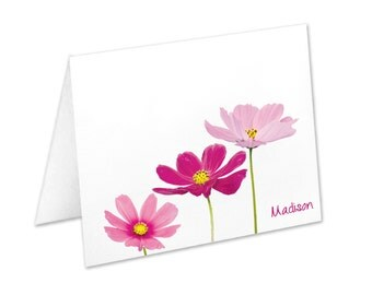 Personalized Flower Note Cards, Stationery Set, Pink Flowers, Stationary Set, Thank You Cards, Floral Stationery, Notecards, Christmas Gift