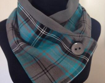 Turquoise/grey mix, lightweight,tartan, crossover scarf.