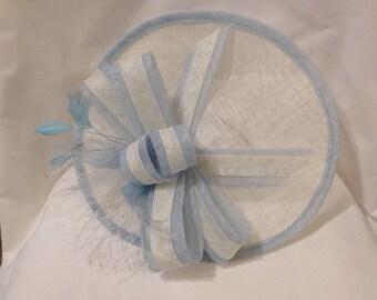 Blue & Cream Large Saucer Fascinator Hat