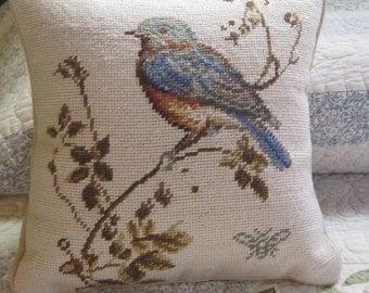 Pillow, Needlepoint Pillow, Needlepoint Bird Pillow, Decorative Pillow, Pillow with Bird