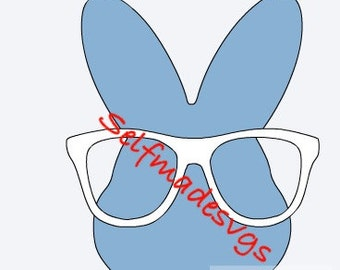 Easter bunny head with glasses svg