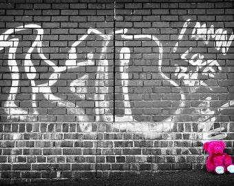 Pink Teddy Bear Graffiti Wall