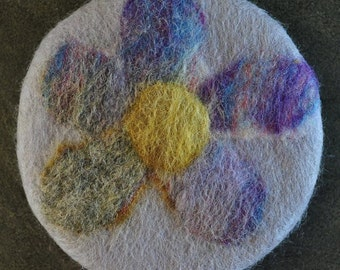 felted soap, felted round soap, felted flower soap, felted almond soap