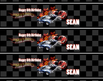 Hot Wheels Birthday Party Water Bottle Labels