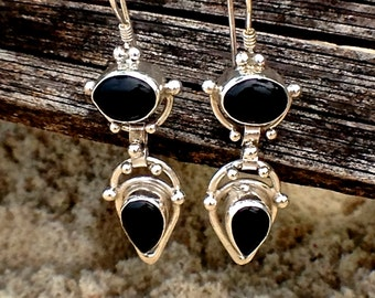 SALE Onyx Earrings, Sterling Silver Earrings, Silver Drop Earrings, Onyx Earrings, Dangle Earrings, Gypsy Earrings, Black Stone Earrings
