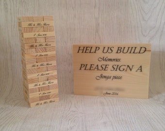 Wedding guest book jenga INCLUDING sign; alternative guest book; wooden guest book; jenga sign