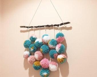 Custom 18 Pom Hanging /Pom Pom Hanging / Wall Art / Nursery Decor
